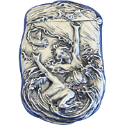 Swimmers in wave motif match safe, sterling by Wm. Kerr, #941, c. 1900