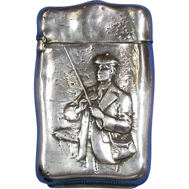 Fisherman motif match safe, sterling, c. 1900, uncommon