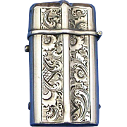 Floral design Dutch match safe with vesta socket , 900 silver, c. 1890