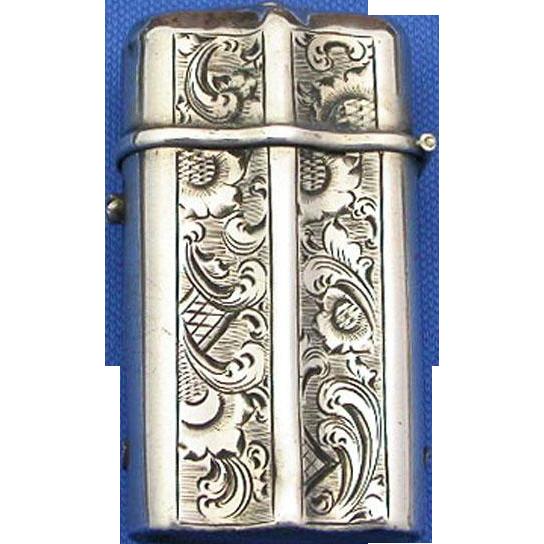 Floral design Dutch match safe with vesta socket , 900 silver, c. 1890
