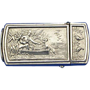 Duck hunting motif match safe, c. 1895, push button lid release