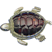 Figural turtle match safe with shell back, c. 1900