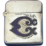 Enamel on sterling match safe, c. 1900