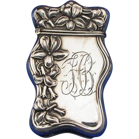 Floral motif match safe, sterling, c. 1900