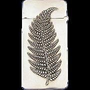 Fern motif match safe, sterling, c. 1900