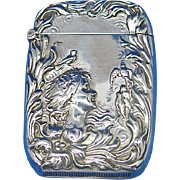 Art Nouveau motif match safe, young girl, doves, sterling by Foster & Bailey, c. 1900, #2076