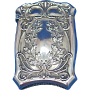 Wreath motif match safe, sterling by Watson Co., c. 1900