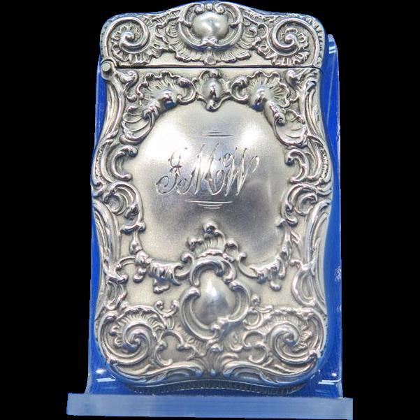 Foliate design match safe, sterling by Hayden Mfg. Co., #447, c. 1900