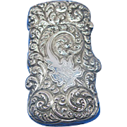 Foliate decorated match safe, sterling, J. F. Fradley, c. 1900