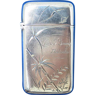 Engraved bamboo match safe, sterling, Whiting Mfg. Co., c. 1895