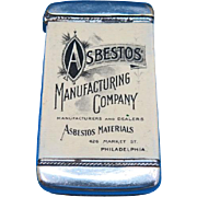 Asbestos Manufacturing Co., Philadelphia - Hercules Asbestos Steam Pipe Covering adv. match safe, celluloid wrapped by Whitehead & Hoag, c. 1905