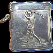 Golfer motif match safe, sterling by Henry Matthews, 1901 Birmingham hallmarks, gilted interior