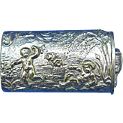 Cherubs playing motif match safe, c. 1895, nickel plated brass