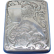 Lion motif match safe, sterling, c. 1900