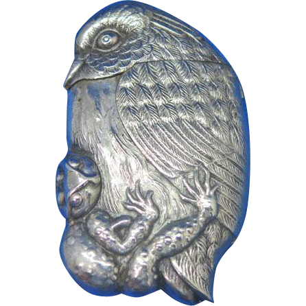 Figural owl with frog in talons match safe, c. 1895, Ger. Silver