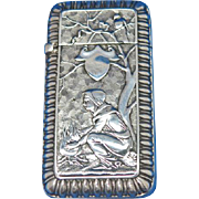 Camp fire scene match safe, sterling, c. 1900, unusual motif