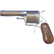 Pistol or revolver match safe and cigar cutter combo, realistic looking, c. 1895, plated brass, unusual