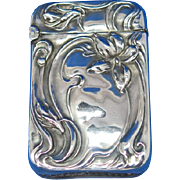 Unger Bros. floral design match safe, sterling, c. 1905