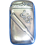 U S Arms - U S Cartridge Company advertising match safe, silver plated by Reed & Barton, c. 1900,