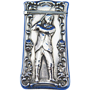 Golfer motif match safe, sterling by F. S. Gilbert, c. 1900
