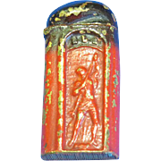 Figural cold painted sealing wax match safe, King Neptune with trident spear, c. 1890