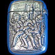 Match safe with 3 drunken revelers (jolly inebriates), silver plate by Gorham Mfg. Co. c. 1890