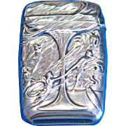 Champagne glass with fairies motif match safe, sterling by R. Wallace and Sons, Barber Asphalt Paving Co. Presentation to E. G. Brassington, 1907