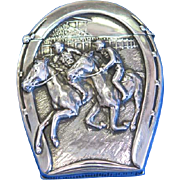 Horse racing motif, hidden photo match safe, sterling by Battin & Co., Pat 1896, #256