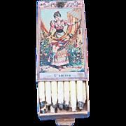 Italian candle matches, match safe, attractive graphics, Marca A. Dellacha, c. 1900