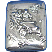 Automobilia motif match safe, speeding car, sterling by R. Blackinton, gold gilted interior, #1332, c. 1910