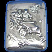 Automobilia motif match safe, speeding car, sterling by R. Blackinton, gold gilted interior, #1332, c. 1910