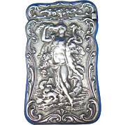 Standing nude with putto match safe, sterling by Gorham Mfg., signed  Antoine Heller, mfg #1255, 1897, hard to find