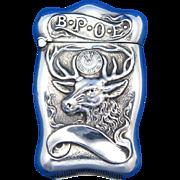 BPOE elk and clock motif match safe, Benevolent and Protective Order of Elks, sterling by Webster Co., gold gilted interior, c. 1900