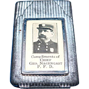Fire Chief Geo. Nagengast, Poughkeepsie, NY match safe, silvered tin, c. 1910
