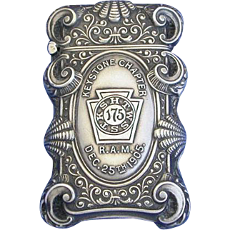 Royal Arch Masons, Keystone Chapter 175 match safe, sterling by Garman Silver Co., 1905