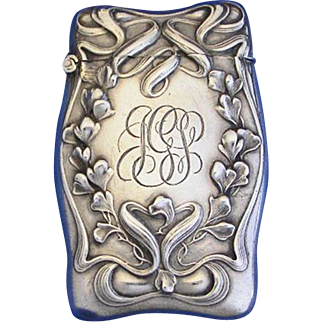 Floral & ribbon motif match safe, sterling by Wm. Kerr, c. 1900