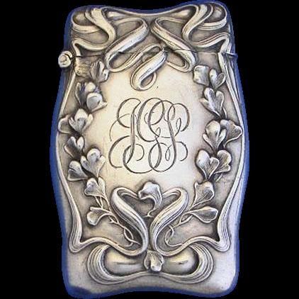 Floral & ribbon motif match safe, sterling by Wm. Kerr, c. 1900