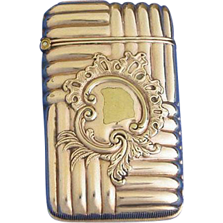 Unusual design match safe, gold plated, by Wm. Hayden Co. c. 1893