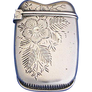 Etched floral motif match safe, sterling by Whiting Mfg. Co, c. 1900