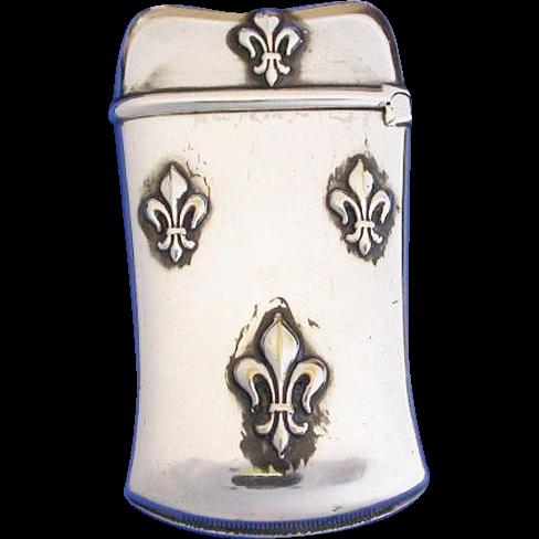 Fleur-de-lis motif match safe, silver plated, c. 1895