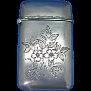 Engraved floral motif match safe, sterling, c. 1900