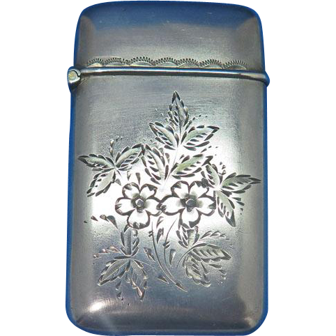 Engraved floral motif match safe, sterling, c. 1900