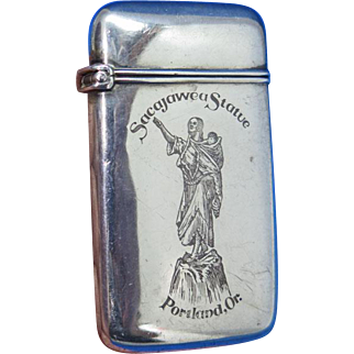 Sacajawea Statue, Portland, OR match safe, sterling, c. 1900, unusual