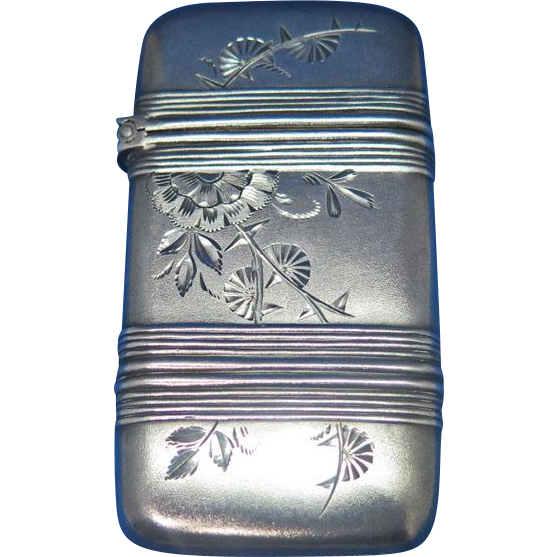 Banded match safe with engraved floral designs, sterling, c. 1895, #13, frosted finish