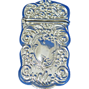 Foliate design match safe, G. Silver, c. 1900