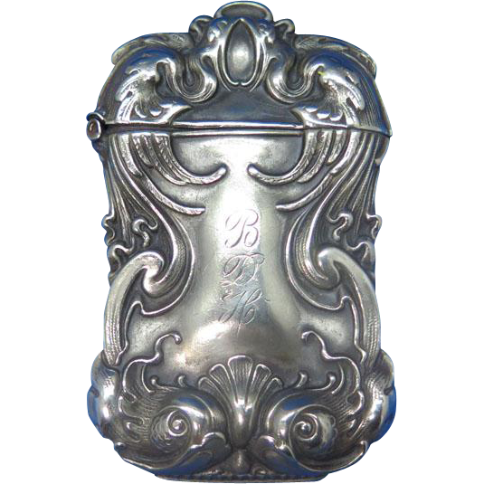 Stylized fish motif match safe, G. Silver, c. 1900