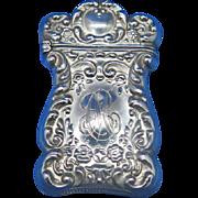 Foliate motif match safe, sterling, c. 1900