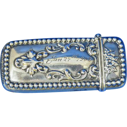 Beaded edge design w/ floral accent match safe, sterling, 1903