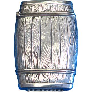 Figural barrel match safe, silveroin, Bristol Mfg. Co., c. 1900