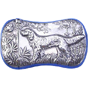 Hunting dog motif match safe, silver plated, c. 1895